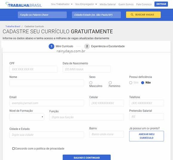 Trabalha Brasil Como Cadastrar